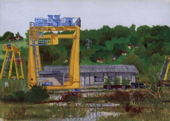 Chamiers : portique de levage dans l'usine SNCF.