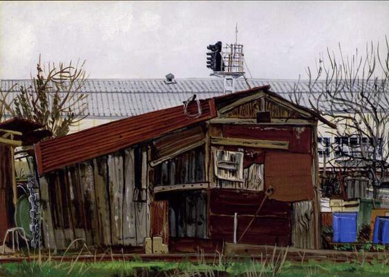 Chamiers : cabane de jardin familial, et hangar de l'usine SNCF en arrière-plan.