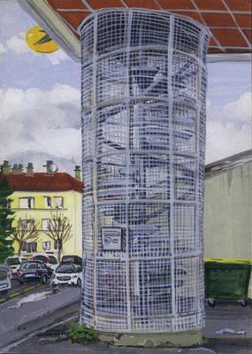 Chamiers : escalier d'accès au centre commercial d'action sociale.