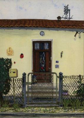 Chamiers : porte d'entrée d'un logement de cheminot, rue Voltaire.