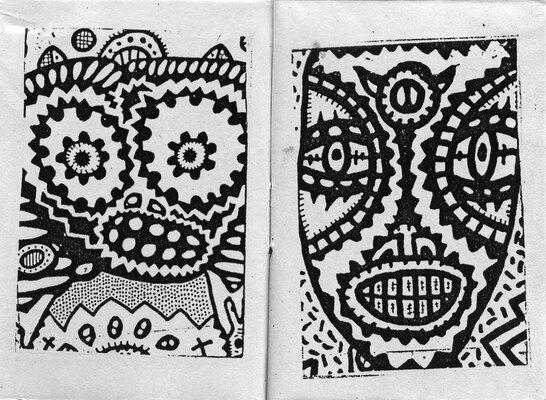 Double page de Kerozen extraite de Atomic Vomit Men, éd. Rhodium Révulsif