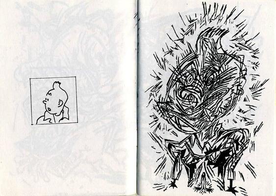 Double page de Bruno Richard extraite de L sont de sortie + Réciproquement, éd. vitrine, 1992