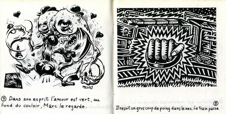 Double page de Mezzo et Y5/P5 extraite de Vert, Les comptines du Taré, 1988.