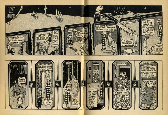 Double page extraite de Amy + Jordan, de Mark Beyer, éd. Sketch, 1993.