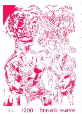 Sérigraphie de Bruno Richard accompagnant le tirage de tête du sixième numéro de Freak Wave