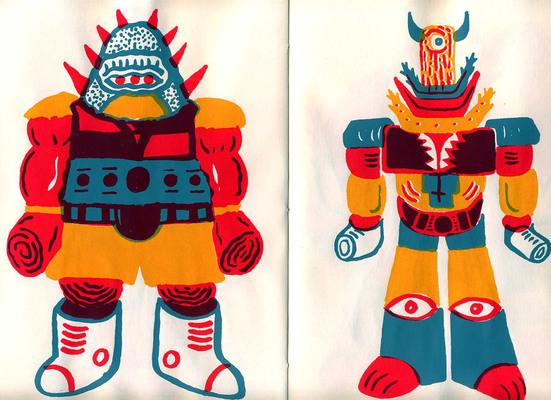 Double page extraite de Infernal monsters, Ben Sanair, éd. La Générale Minérale - 2021