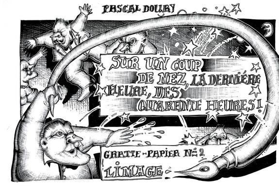 Illustration de pascal Doury extraite de La dernière heure des quarante heures, éd. Limage 1977