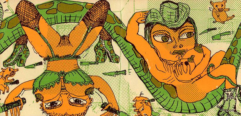 Double page verso de Caroline Sury extraite de Sex tonic avec animaux, éd. Le Dernier Cri 1996