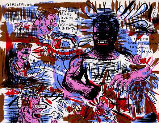 Double page de Blexbolex extraite de Steacknife #1, éditions Chacal Puant, 1996