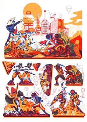 Planche n° 1 du portfolio Paper Toys, Icinori, éd. Else Edizioni, 2014.