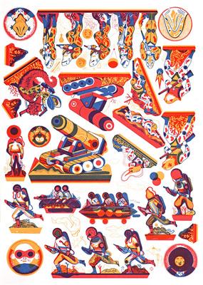 Planche n° 2 du portfolio Paper Toys, Icinori, éd. Else Edizioni, 2014.