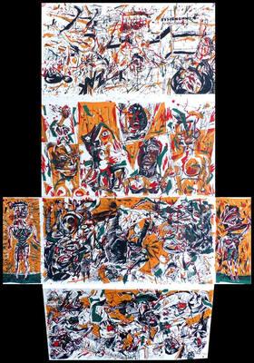 Jaquette sérigraphiée de Bruno Richard du portfolio Babylone Bobigny édité par l'Atelier