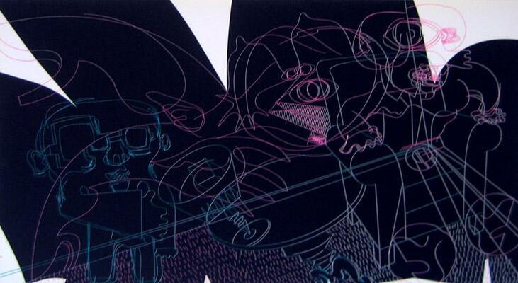 Sérigraphie de Placid extraite du portfolio Babylone Bobigny