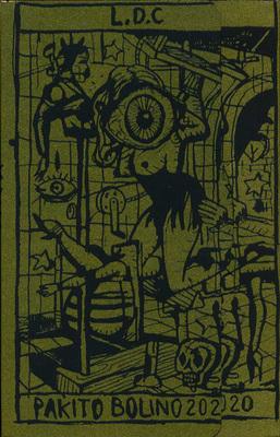 Dos de la pochette du portfolio Tarosado, de Pakito Bolino, éd. Le dernier Cri, 2020.